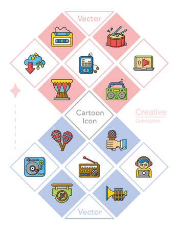 concert hall: icon set music vector Illustration