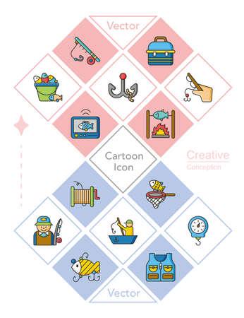 bobber: icon set fishing vector Illustration