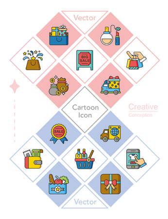 iocn set shopping vector