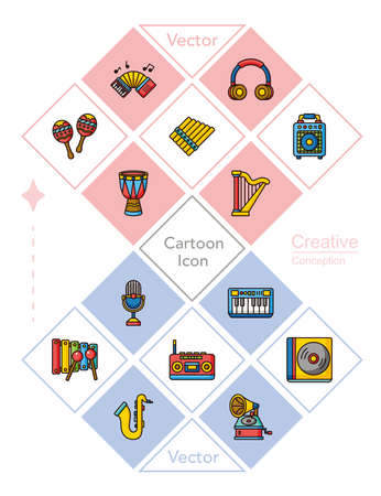 icon set music vector Illustration