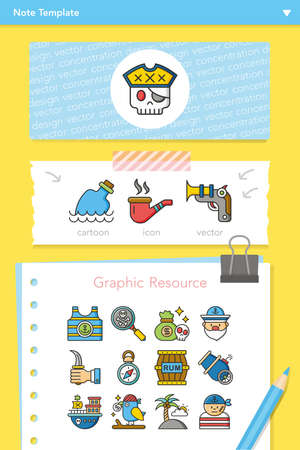 message bottle: icon set pirate vector