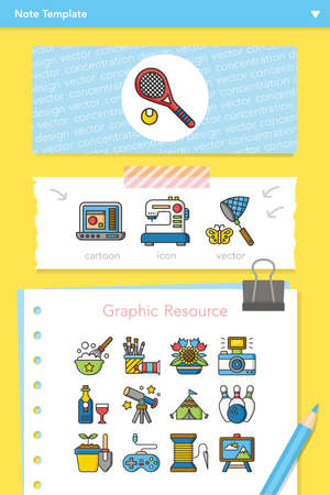 taking notes: icon set hobby vector