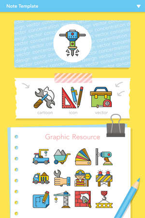 skid: icon set construction vector