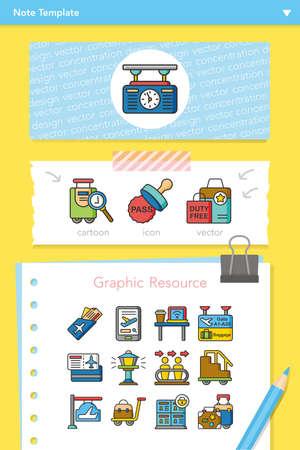 conjunto de iconos de vectores aeropuerto Ilustración de vector