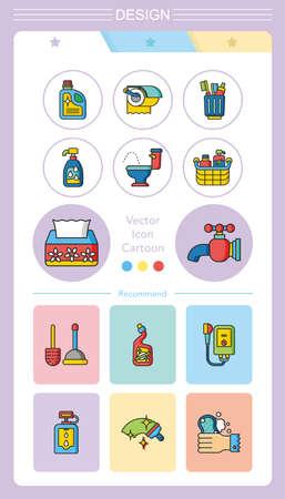 douche: icon set sanitary Illustration