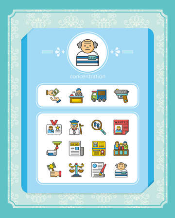 barrister: icon set law vector Illustration