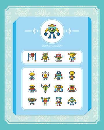 artefact: icon set robot vector Illustration