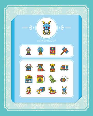 icon set toy vector Illustration