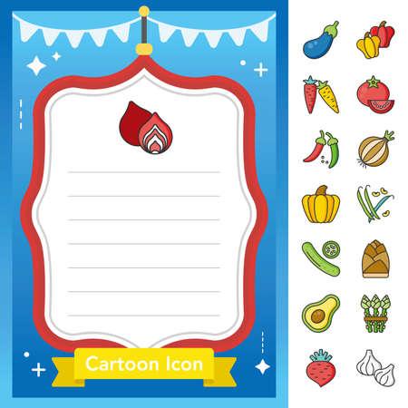 icon set vegetable vector