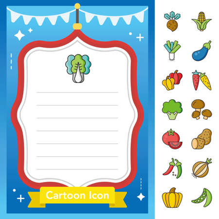 icon set verdura vettore