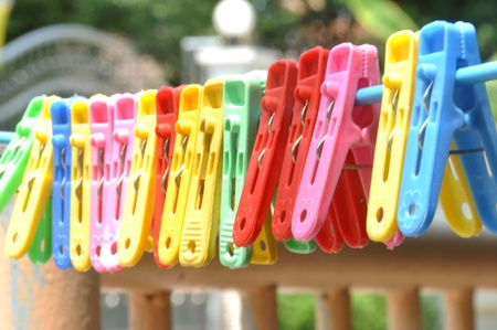 clothes peg: colourful of clothes peg  Stock Photo