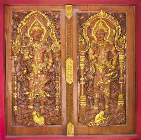 Beautiful hand carved wooden door in Thailand Stock Photo - 12773423