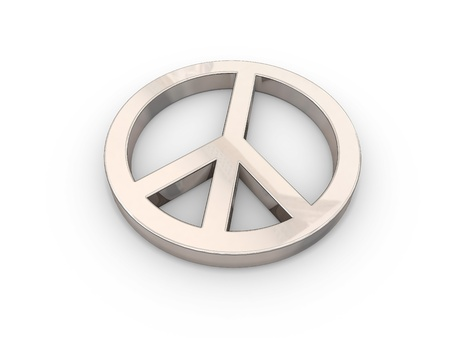 gold-tinted 3D peace symbol over white