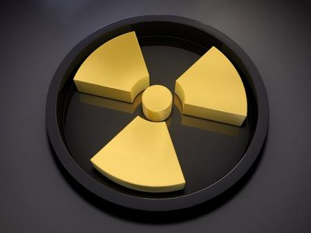3D radiation symbol over dark background