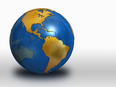 Blue and Gold Earth over white background - western hemisphere Standard-Bild