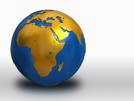 hemisphere: Blue and Gold Earth - Africa, Middle East, Europe