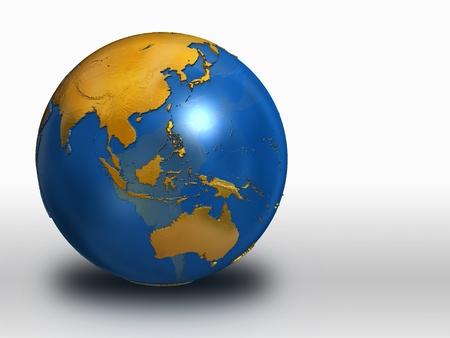青および金地球 - アジア、ロシア、オーストラリア