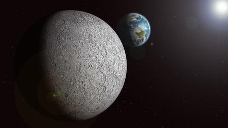 De aarde wordt gezien stijgt boven de zonovergoten maan