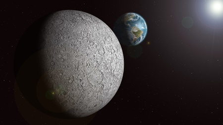 The Earth is seen rising over the sunlit moon