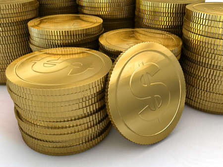neatly stacked: a group of neatly stacked gold coins