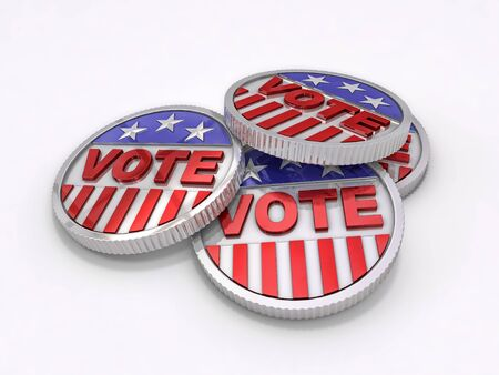 commemorative: a commemorative red white and blue voting coin Stock Photo
