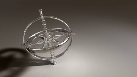 Spinning chrome gyroscope object on a shaded generic background