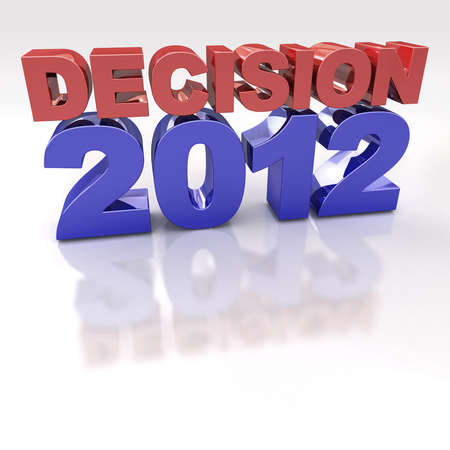 election debate: Red and Blue Decision 2012 3D logo on reflective white background