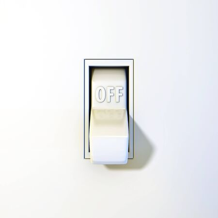 toggle: Close up of a wall light switch in the off position