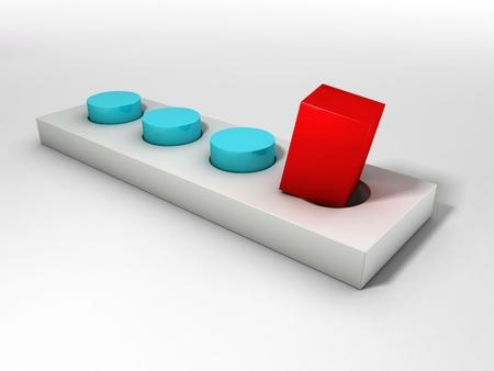 Rode vierkante pen en een rond gat over heldere limbo