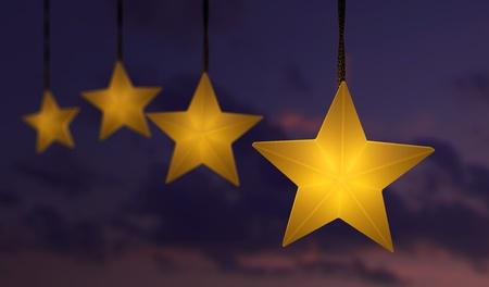 Hanging star shaped string lights over a dark sunset sky