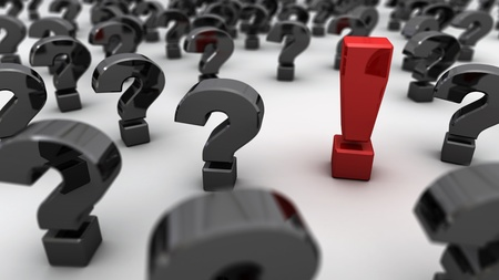 esitazione: Un punto esclamativo rosso in un campo di punti interrogativi neri