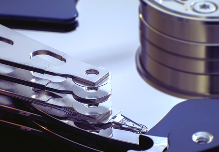 data recovery: Desktop computer hard drive internal close up