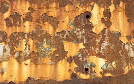 corroded: A Background of peeling paint and rusty old metal