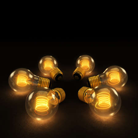 Six illuminated incandescent light bulbs in a circle on a dark background
