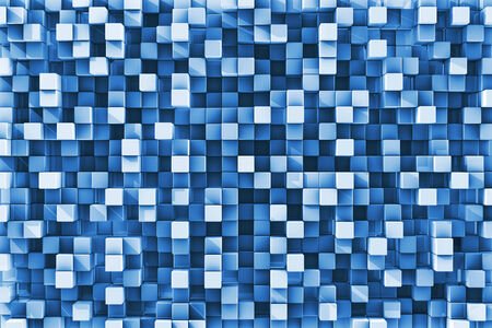 Three Dimensional blue checkered reflective cube background