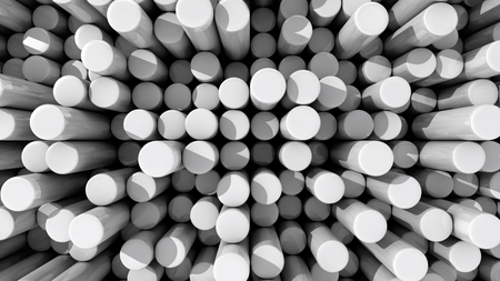 Background of white reflective extruded cylinders or rods at various heights with shadows