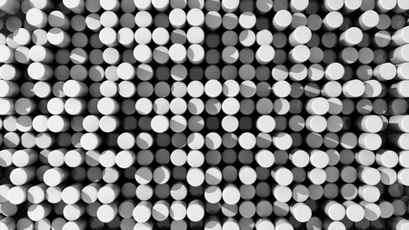 extruded: Background of white reflective extruded cylinders or rods with shadows Stock Photo