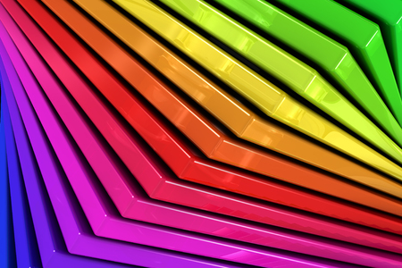 Close up of a coloful rainbow abstract background of a spiral stack of glass planes