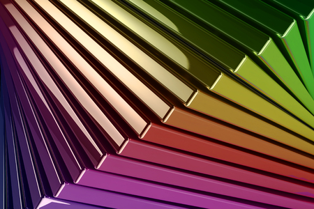 A computer-generated background of stacked metallic reflective rainbow colored squares Standard-Bild