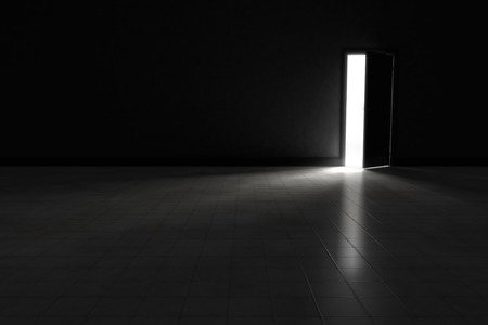 An open door with bright light streaming into a very dark room.  Background Illustration. Archivio Fotografico