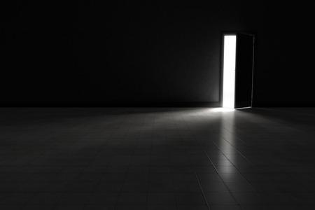 portone: Una porta aperta con la luce in streaming in una stanza molto buia. Illustrazione di sfondo. Archivio Fotografico