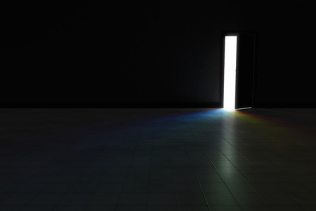 An open door with bright rainbow light streaming into a very dark room.  Background Illustration.