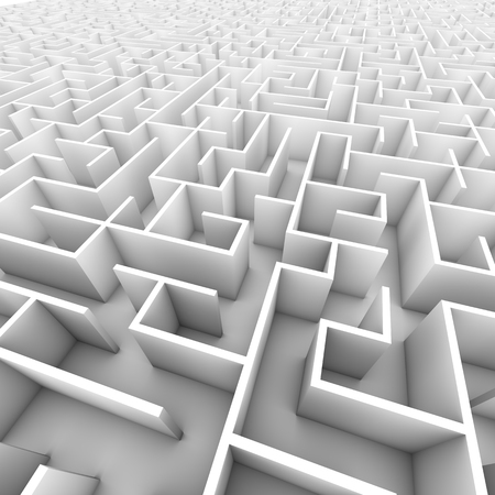 An infinite bright white wall maze or labyrinth