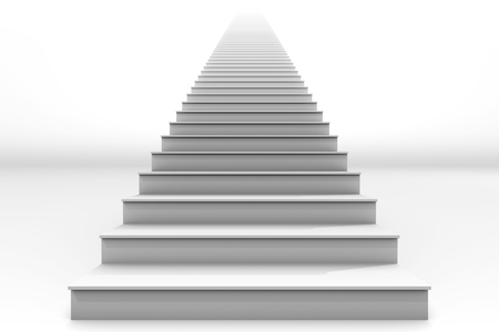 limbo: A tall white straight staircase stretches to infinity on a white background.  It is a 3D rendered image. Stock Photo