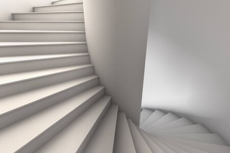 3D Illustration of a white spiral staircase with wide steps rotating down from upper left to lower right.  Viewpoint looking slightly down. Standard-Bild