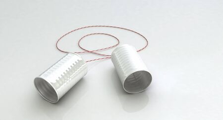 business time: Shiny reflective tin can telephone with red and white string over a white background.  Suitable for technology, communications, business, and play time applications. Stock Photo
