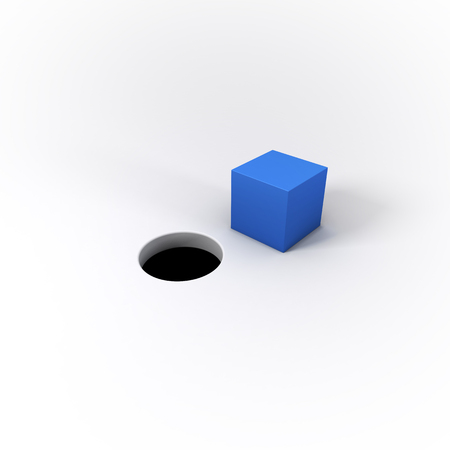 futile: A blue square peg and a round hole on a bright white background.  A visual representation of the idiom You cant fit a square peg into a round hole.  Great for business or technology applications.  3D Illustration. Stock Photo