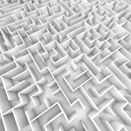 A large bright white walled maze / labyrinth from overhead. 3D illustration. Great for business concepts or motivational applications.