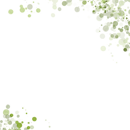 Green Water Color Drops on a White Background with Lots of Negative Space for Text Standard-Bild