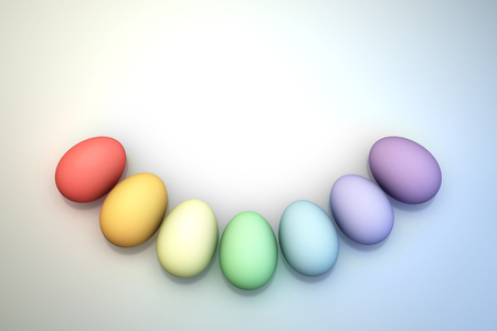 ovoid: An Arc of Pastel Rainbow Colored 3D Illustrated Easter Eggs over a Bright Background.  Lots of room for copy or graphics. Stock Photo